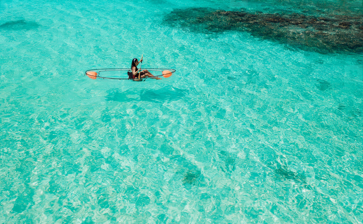 Canoeing on the clear blue water