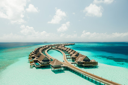 Overwater villas at a luxury island resort