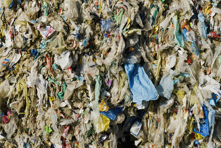 Close up compressed bundle of plastic recycling