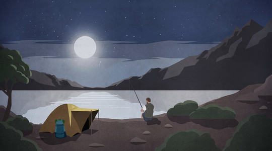 Moonlight over man fishing at remote lakeside campsite