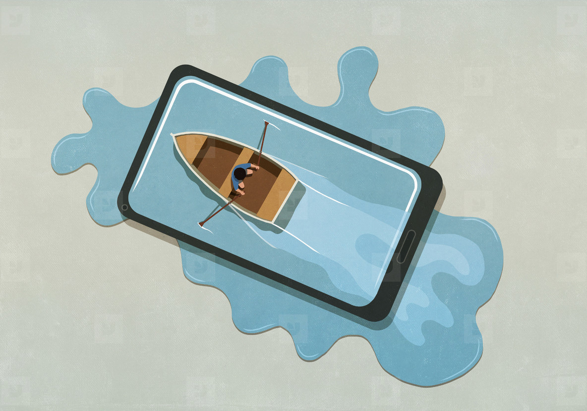 Man rowing boat in water spilling from smart phone