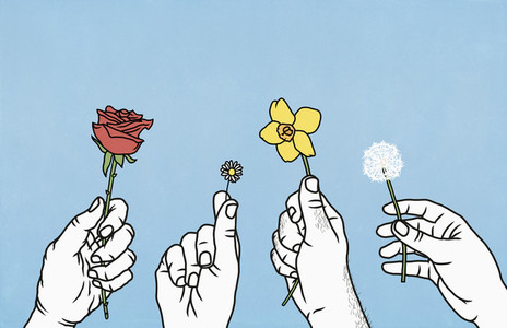 Hands holding spring and summer flowers