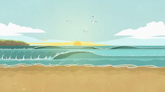 Sunset over ocean waves on idyllic summer beach