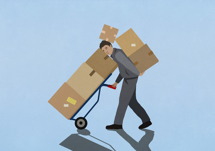 Overburdened delivery man carrying cardboard boxes