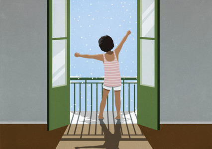 Excited girl waking and stretching on snowy winter balcony