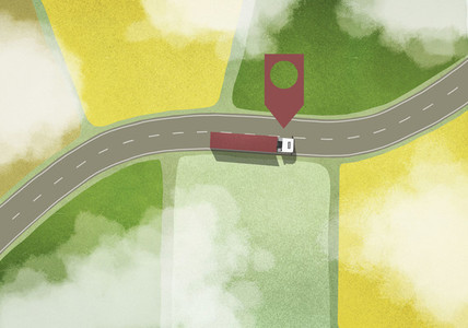 Location marker above commercial truck driving among rural fields