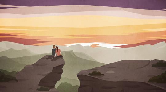 Couple enjoying majestic scenic mountain landscape at sunset