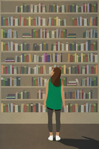 Curious woman standing at towering bookshelf
