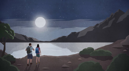 Bright full moon over couple hiking at tranquil mountain lake