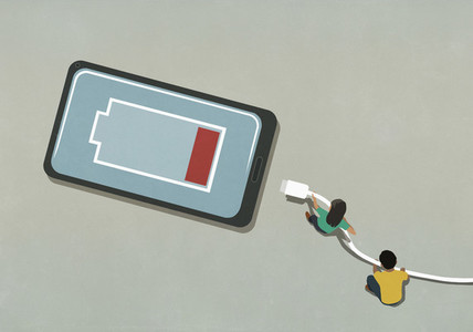Man and woman charging low battery smart phone