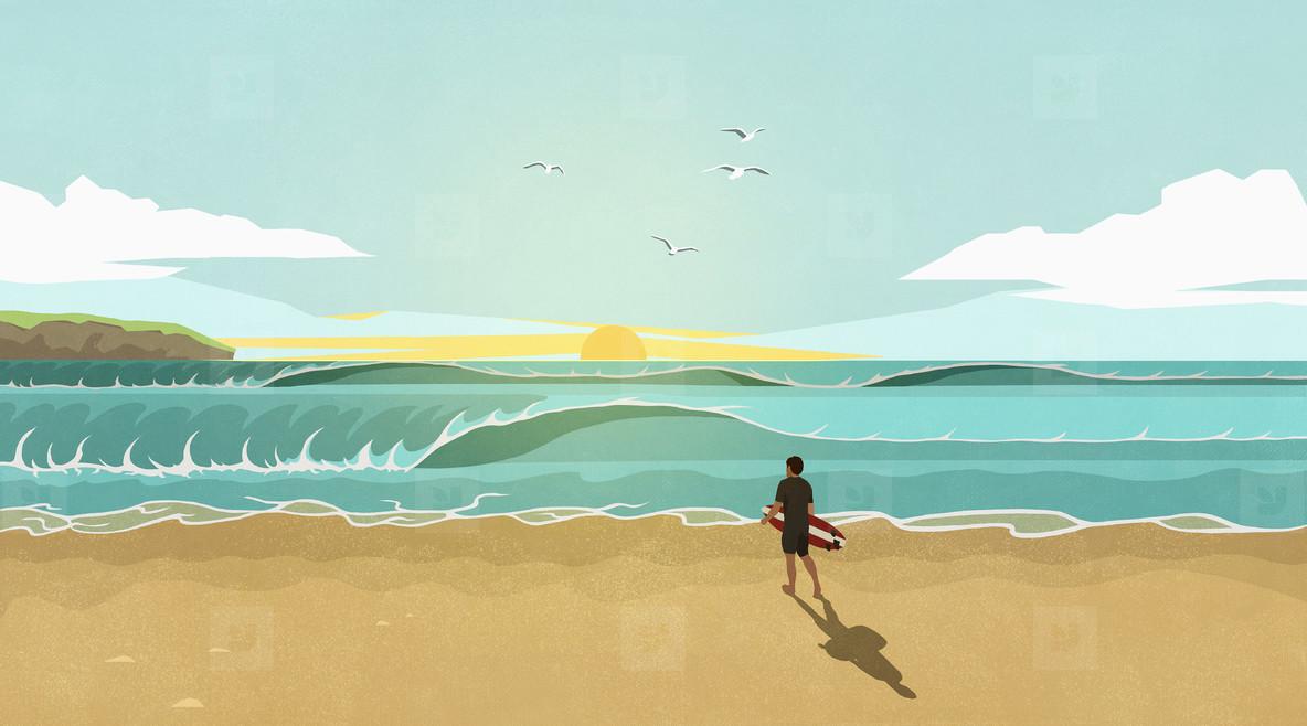 Man with surfboard watching waves on sunny idyllic summer beach