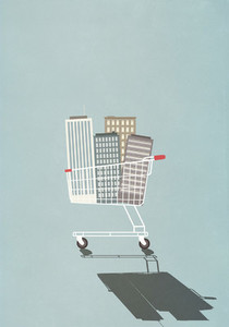 Highrise buildings in shopping cart