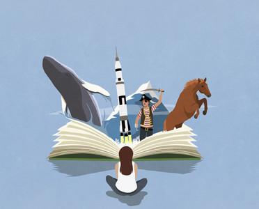 Imaginative girl reading adventure travel book
