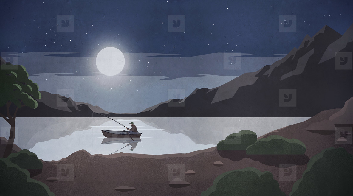 Man fishing in rowboat on tranquil lake under full moon