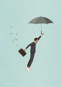 Male investor with umbrella and money briefcase flying