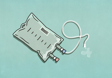 IV drip bag on turquoise background