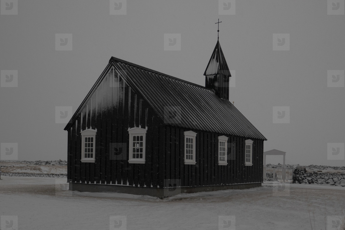 Tranquil simple snowy church