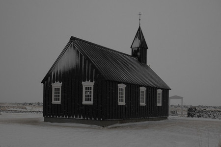 Tranquil simple snowy church