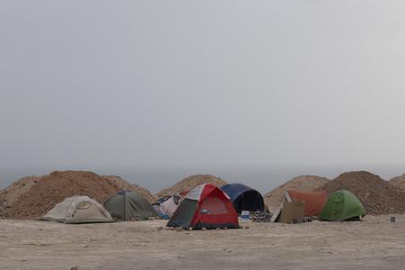 Tents on ocean beach