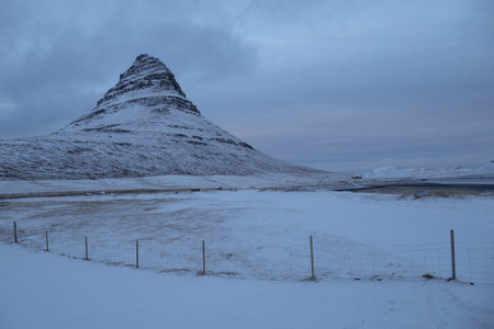 Scenic view snowy remote mountain landscape