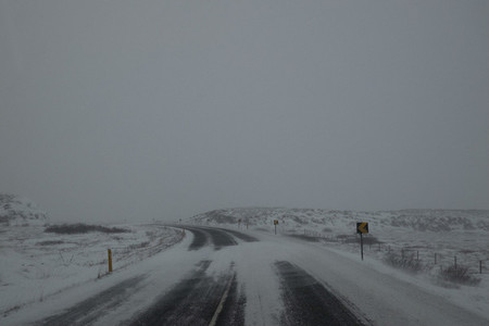 Snowy remote road