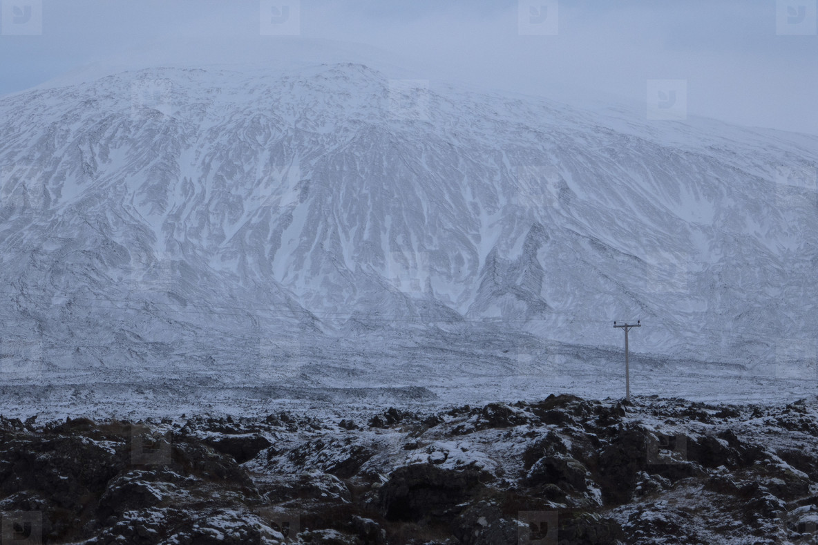 Rugged remote rocky snowy mountain landscape