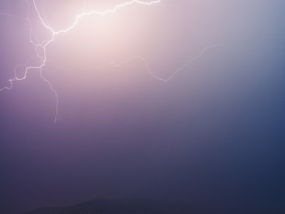 Lightning bolts in dramatic stormy sky
