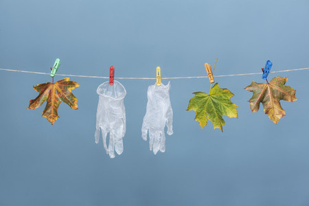 Protective gloves hanging on clothesline with autumn leaves