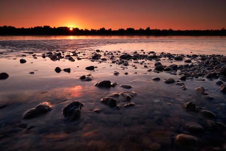 CRNA BARA  SERBIA   Beautiful sunset over the Drina river near the small village of Crna Bara  western Serbia