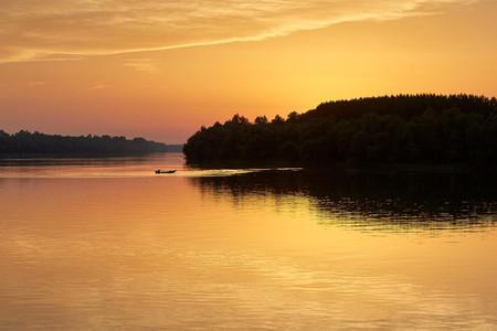 RAVNJE SERBIA   Golden reflection over the Sava river in Ravnje