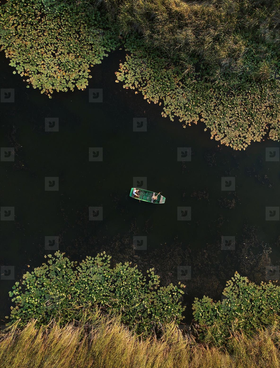ZASAVICA  SERBIA   A small boat floats on the Zasavica River in Serbia