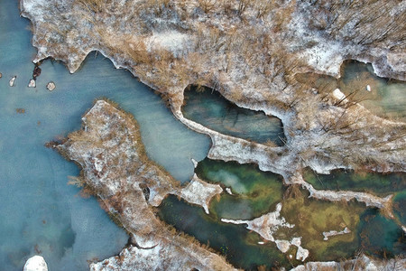 CRNA BARASERBIA   Aerial view at the frozen lakes