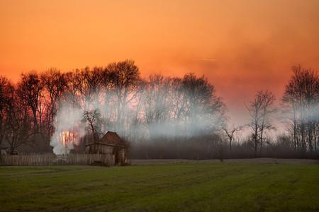 BANOVO POLJE  SERBIA   Magical autumn evening in a small village of Banovo Polje