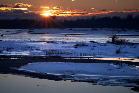 CRNA BARA  SERBIA   Magical winter sunset over the Drina river