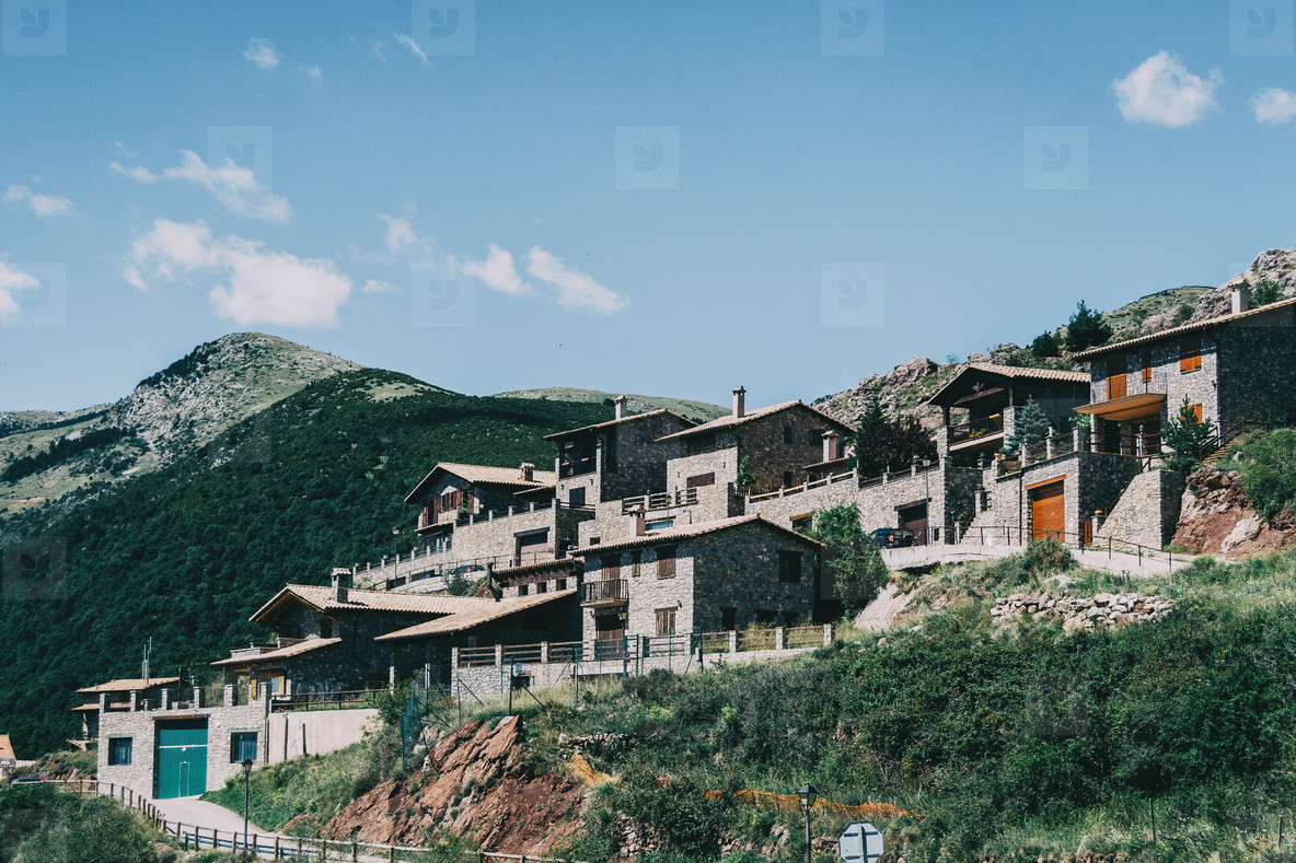 View of a small and rustic town in Catalonia  Spain