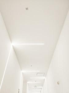 White hall illuminated by white led lights