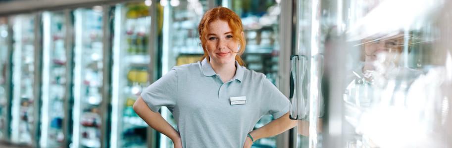 Woman working at supermarket
