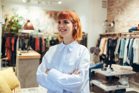Female fashion store owner