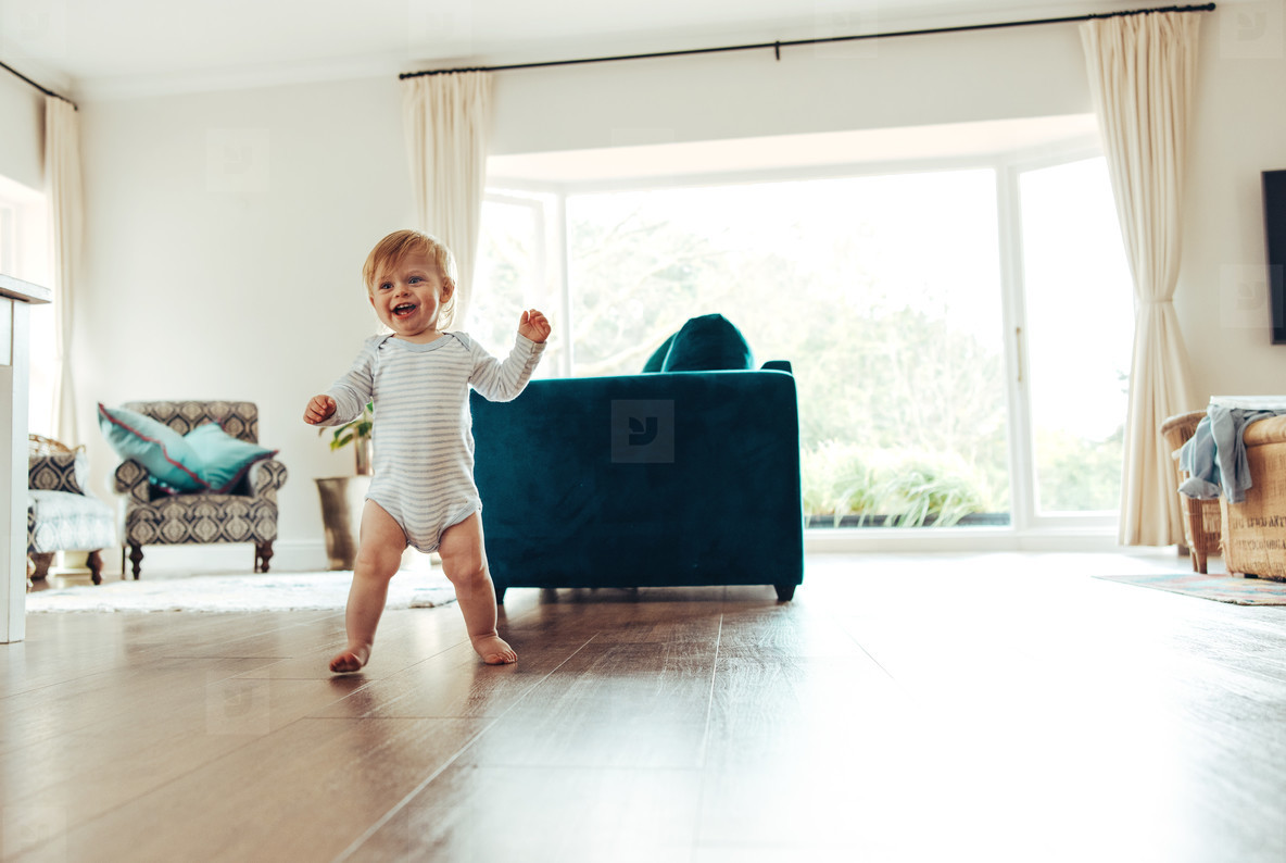 Cute baby trying to walk