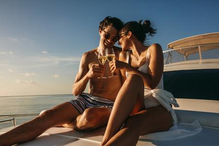 Couple enjoying holiday on a luxury yacht