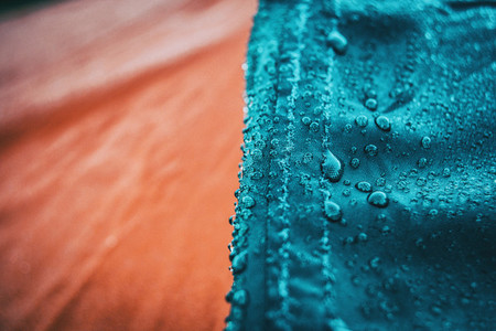 drops on a waterproof cloth