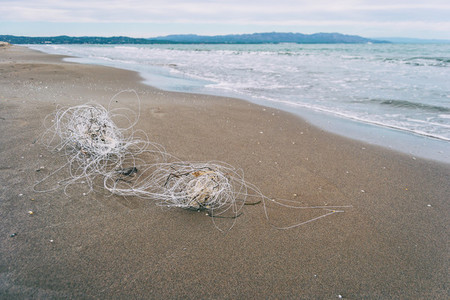 plastic string washed up on a beach