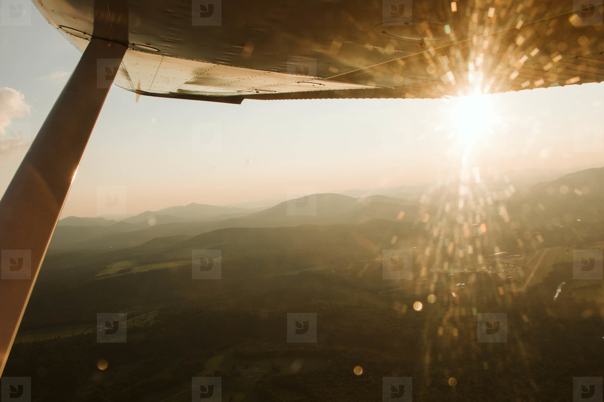 Sun through airplane window