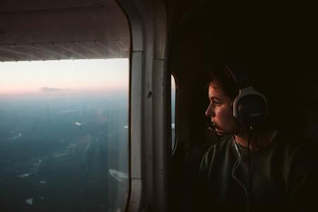 Passenger Look Out Window Sunset