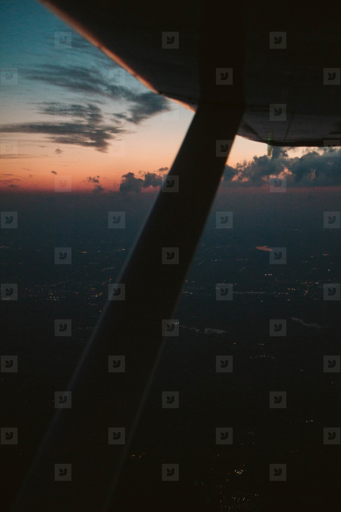 Sunset out airplane window