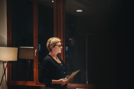 Senior businesswoman addressing a meeting