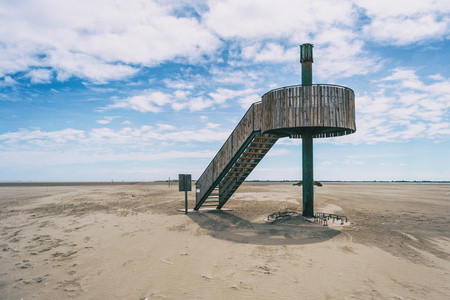 observatory made of wood to watch fauna of the delta del ebro  spain
