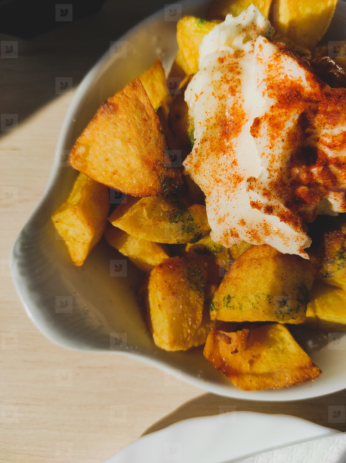 Patatas bravas with ajoaceite  Spanish tapa