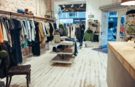 Interior of a small clothing store