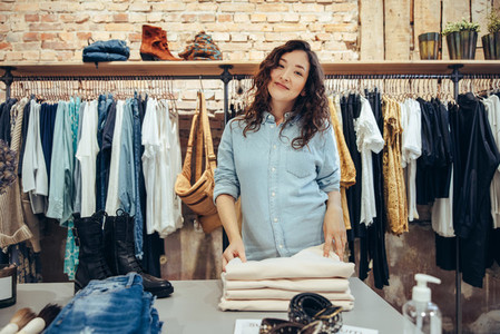 Portrait of a clothing store saleswoman